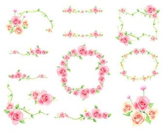 Digital Flower Frame Clipart Pink Frame Clip Art Pink Floral Frame Border Clipart Pink Flower Corner Pink  Wedding Invitation 0140