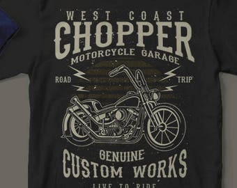 CUSTOM CHOPPER Works West Coast T-Shirt Custom Rare Artwork Design High Quality DTG Print *S-4XL*