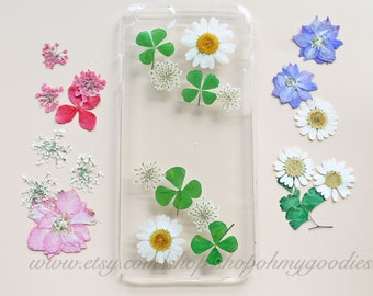 Green Clover iPhone X Case, iPhone 8 Case Floral, iPhone 8 Plus Case Clear, Pressed Flower Phone Case, iPhone Cover 7 Plus 6s 6 5s 5 SE 5c