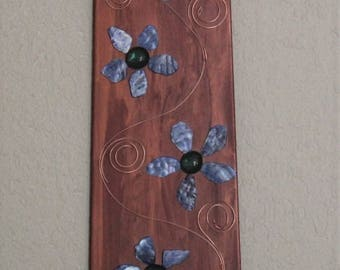 Blue Abstract Flower Wall Art with Copper Background, Repurposed Fan Blade, Recycled Wall Hanging, Alter Decor, Upcycled Wall Decor