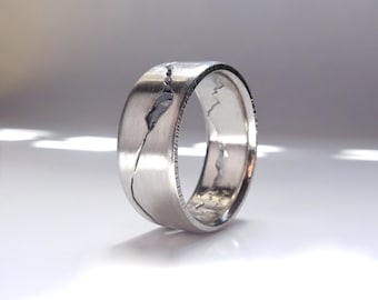 Summit Mountain Ring, 7mm band, Rock Inlay Mountain Band, Handmade with Recyled Silver, Gold, Palladium or Platinum, Mountain Wedding Band