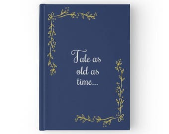 Tale as old as time, Fairytale Wedding Guest Book, Navy Wedding Guestbook, Gold Wedding Book, Beauty and the Beast Wedding, GB 119