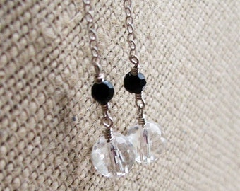 Long Discoteca Earrings Featuring Rock Crystal and Onyx