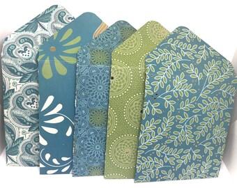 Set of 10 - Bohemian Style - Mini  Envelopes, Gift Card Holders, Cash Envelope, Pocket Letter, Money Holders, Lunch box notes, Love Notes