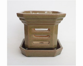 Orchid Pot with water tray by Louise Pull, SECOND, 14 x 16 cm