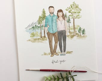 Custom Watercolor Portrait for Two, Custom Illustration, Wedding Portrait, People & Pets, Family Celebration, Family Portrait