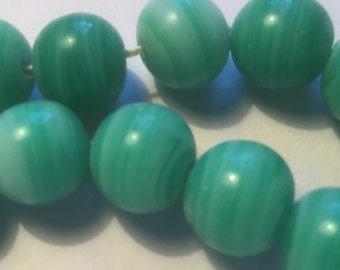 Vintage Glass Beads (10)(11-12mm) Handmade Japanese Lime & Cream Beads