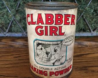 Antique 10 OZ Clabber Girl Baking Powder Tin With Top
