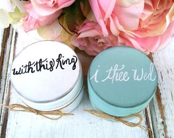 With This Ring I The Wed Wedding Ring Boxes   Ring Bearer Boxes   Set of Two   Wooden Ring Boxes   Wedding Gift   Burlap