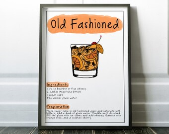 Old Fashioned Poster Old Fashioned Kitchen Decor Old Fashioned Bar Decor Old Fashioned Man cave Poster Living Room Decor Old Fashioned Art