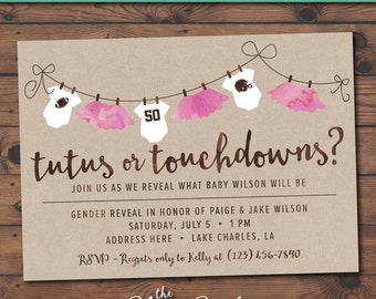 Touchdowns or Tutus? Gender Reveal Baby Shower Invitation -- Printable Personalized Invitation