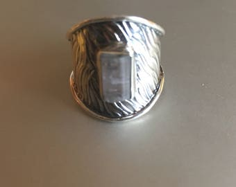 Pale Tourmaline Specimen. Solid Silver Ring Cuff. Size 6 1/2 COANM©2016