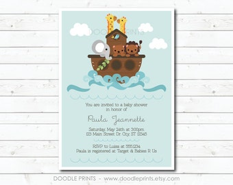 Noahs Ark Invitation Noahs Ark Birthday Invitation