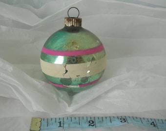 Vintage Mercury Glass Christmas Ornament Green Pink White Stripes Stenciled Shiny Brite