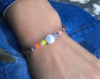 Freshwater pearl bracelet Pearl bracelet White pearl bracelet  Colorful bracelet Glass bracelet Gift Gift for her Free shipping