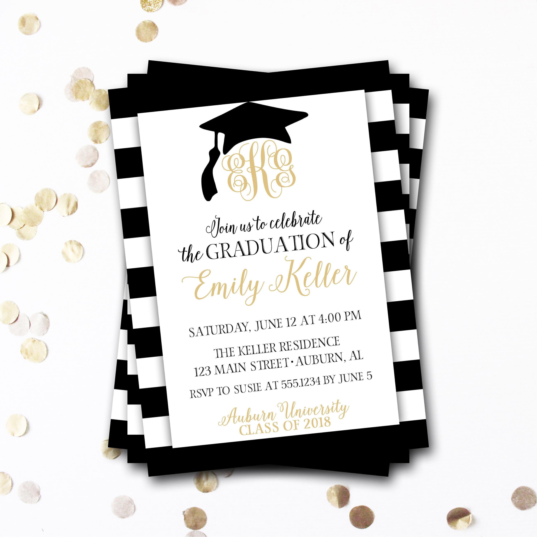 Graduation Invitation Monogram Graduation Invitation Black