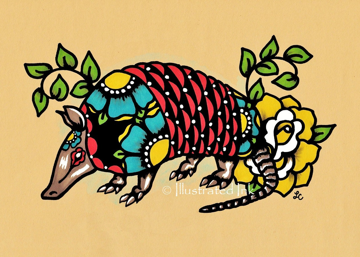 Old School Tattoo ARMADILLO Mexican Folk Art Texas Print 5 x