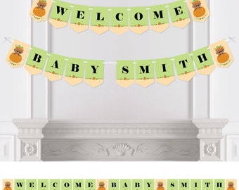 Little Pumpkin - African American Bunting Banner - Personalized Baby Shower or Birthday Bunting Banner & Decorations - Hanging Party Décor
