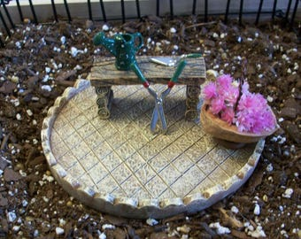 Miniature Patio with walnut shell basket and  garden tools, fairy garden accessories