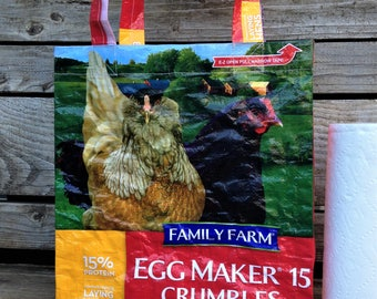 Recycled Feed Bag Tote, reusable tote bag, grocery tote, recycled shopping bag, reusable grocery bag, recycled tote bag, chickens, farm