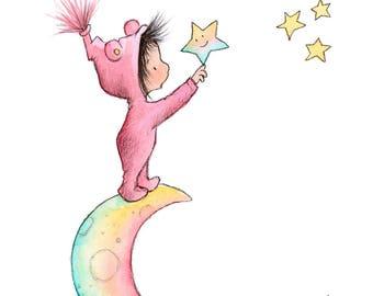 Reach For The Stars - Toddler Baby Girl Brunette On Moon - Art Print - Nursery