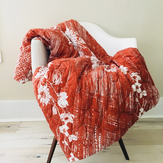Vintage Rust Floral Quilt Full/Queen Size Rust Orange and White Flower Quilted Coverlet Boho Bohemian Floral Bedspread