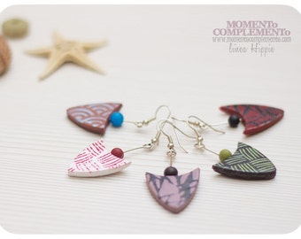 Earrings Arrowhead handmade with polymer clay. Lightweight and cheerful design. Colorful slopes ideal for summer.