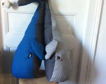 blue whale trophy Plush Pillow - bedroom decor - XL