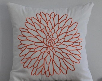 White Orange Decorative Pillow, Throw Pillow Cover, White Linen Orange Floral Embroidery, Accent Pillow, Pillow Case,Couch Pillow, Cushion