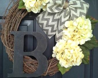 Front Door Wreath, Everyday Wreath, Wreath for Front Door, Yellow Wreath, Hydrangea wreaths, Wreaths,