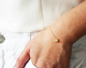 Tiny CZ Gold Bracelet / Diamond CZ Bracelet / Delicate Gold Bracelet / Gift for her