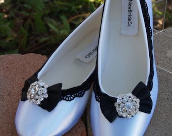 Size 9 Black & White Wedding Victorian Flats White Shoes Ready to ship,Black Velvet Lace Ribbon,Crystals Brooch,Edwardian,Renaissance, Satin