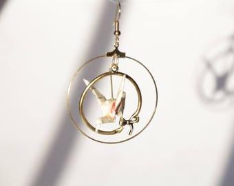 Beige and gold crane earrings
