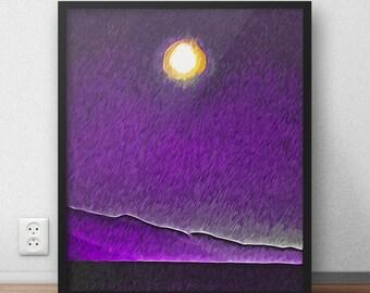 Abstract Landscape, Night Print, Landscape Print, Printable Wall Art, Wall Art Print, Wall Decor, Instant Download, Large Print, Moon Art