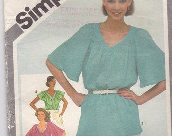 1980s Simplicity Pattern No 5108 for Misses Pullover Tunic or Tops  Size 14  Bust 36 inches, Uncut, Factory Folded