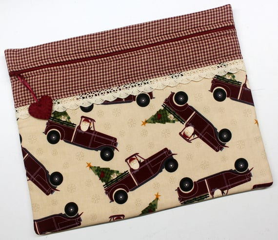 Christmas Santa & His Red Truck Cross Stitch, Sewing, Embroidery Project Bag