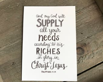 And my God will supply all your needs print
