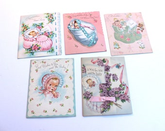 Vintage Lot of USED Baby Girl Cards for Scrap Booking and Crafts, 50s 1950 Congratulations Baby Cards