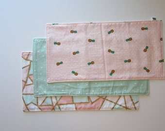 Burp Cloths / Pink and Mint Set / Pineapples Set / Baby Girl Burp Rags / Baby Shower Gift