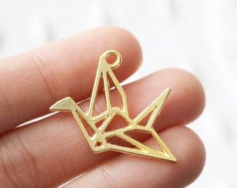 Set of 10, Origami Crane, Crane Charm, Origami Charm, Gold Charm, Gold Crane Charm, Jewelry Charms, Origami Supply, Origami Charms,