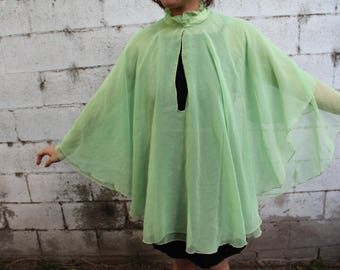 Vintage 70s Green Cape vith a large keyhole / Mint / 20s 60s / Small / Medium / Large