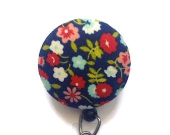 Retractable Badge Holder - Id Badge Holder - RN Nurse Badge Reel - Retractable Lanyard - Name Badge Holder - Navy Floral Badge Reel