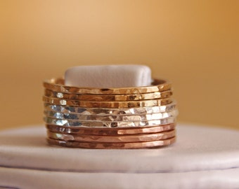 Set of 3 MIXED METALS, slim stackable rings