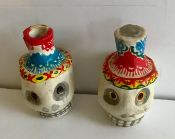 Vintage Mexican Day of the Dead Ceramic Small Candleholders