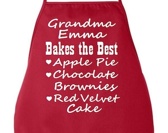 Custom Personalized Grandma Bakes The Best Apron Valentine's Day Gift Idea Mother Grandmother