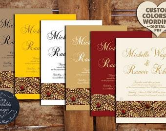 Mehndi Party Invitation Template : Printable indian wedding invitation lotus flower engagement