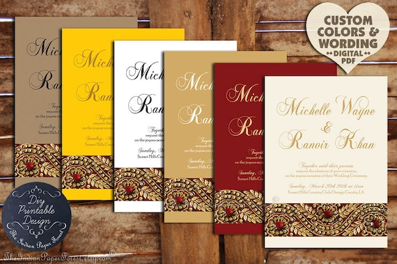 Indian Wedding Invitation Set Gold ZARI PRINTABLE Pdf Order