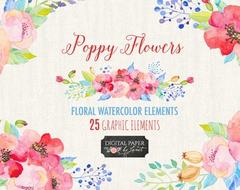 Poppy Flower - Floral Watercolor Elements - PNG file