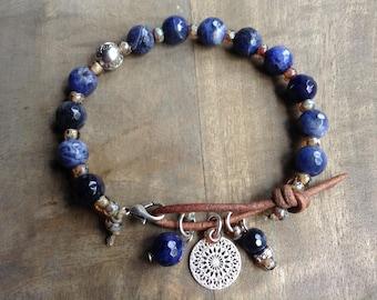 Sodalite bohemian bracelet boho chic jewelry gift for her gypsy womens jewelry boho chic bracelet rustic bracelet hippie bracelet