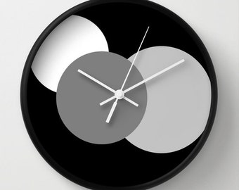 Clock, White Grey & Black Circles Clock, Colorful Clock, Modern Clock, Geometric Clock, Wall Clock, Home Decor, Kitchen Clock
